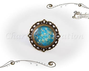 Round glass cabochon ring branch floral