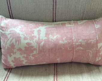 A beautiful 19th Century French toile and linen oblong cushion.