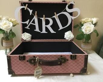CARDS Kraft card Bunting, case tags,Wedding Cards Suitcase Bunting. Wedding Card holder Bunting,  Cards bunting, shabby chic, card Box