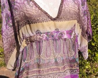 Vintage gem,purple sheer kaftan tunic top, size uk 16-18 usa 14-16, hippie, woodstock, summer