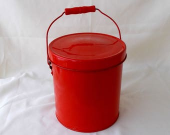 Vintage Red Pail Bucket With Wire Handle & Lid
