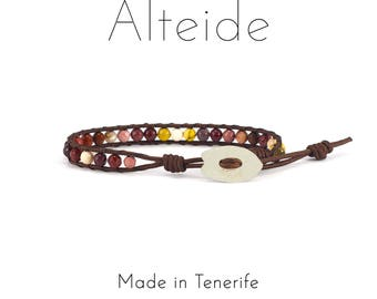 Anklet Montaña roja - Alteide - made in Tenerife - surf inspired - 925 Silver - man woman - Mookaite