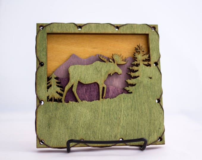 Moose Rustic Styled Wood Wall Art