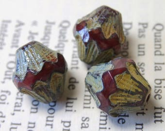 4 large bicones Baroque Czech glass beads, cherry 13X11mm BN4
