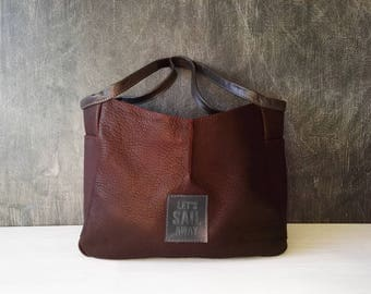 Leather hobo bag, chocolate brown handbag, modern design handbag, bag women, dark brown textured leather purse  - ready to ship