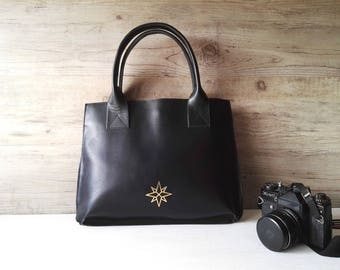 Original black leather purse, medium size genuine leather handbag, woman bags, woman handbags star print purse - ready to ship