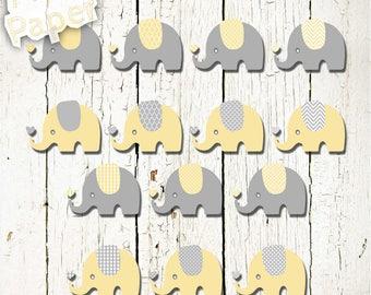 "Elephant Clip art: ""Pastel Yellow & Gray"" zoo, jungle, safari, baby shower, baby. Transparent background"