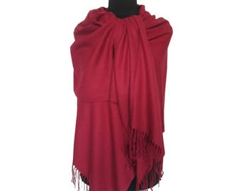 Red Pashmina, Beautiful Scarf, Fall Red Scarf, Christmas Gifts for Women, Pashmina Scarf, Long Pashmina, Gift for Girlfriend, Plain Pashmina