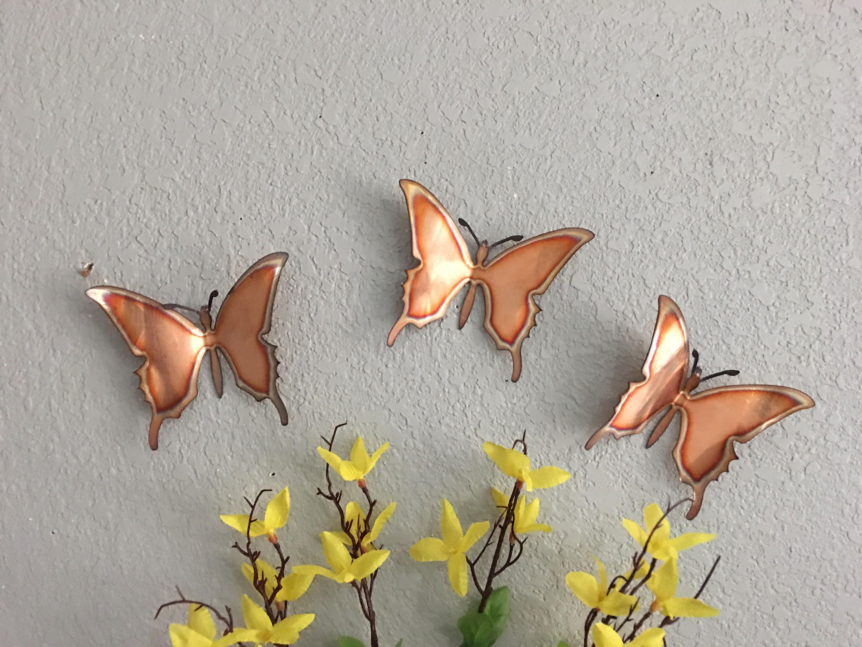 Copper Butterflies   Set Of 3   Butterflies   Wall Art   Metal Butterflies    Home Decor