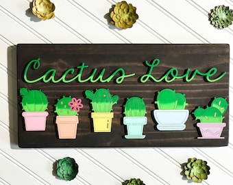 Cactus, cacti, succulent, wood sign, laser cut, ombre, hand painted, handmade, cactus decor, cactus art, laser cut sign