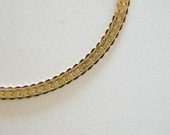 Long Gold Tone Finish Herringbone Etched Chain Necklace