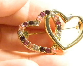 Double Heart Gold Tone Pin Brooch - Crystals