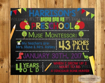 SALE - First or Last Day Of School Personalized Chalkboard Sign - Back To School - Kindergarten - Primary Colors - You Print