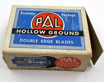 38 Vintage PAL Hollow Ground Double Edge Razor Blades in Original Box