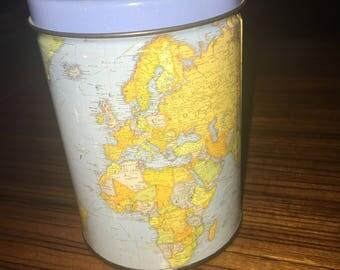 Vintage globe tin with decorative lid
