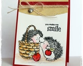Cute Handmade Card, Hedgehogs, Handmade Greeting Card, Penny Black Card, Watercolored Card, Hedgehogs with Apples, All Occasion Card, OOAK
