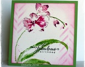 Handmade Greeting Card, Orchid Card, Flower Card, Inked Card, Stamped Card, Stencil and Ink, Birthday Card, Purple and Green, Square Card