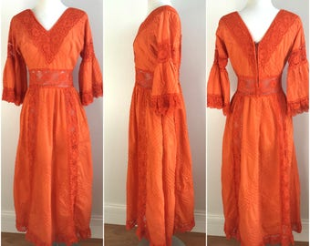 1970s Vintage Orange CROCHET Pintuck Cotton Mexican Wedding Maxi Dress S M