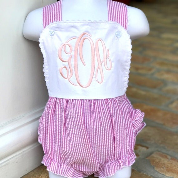 Monogrammed Ruffle Back Seersucker Bubble