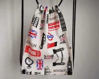 Drawstring backpack, canvas backpack, London fabric gym bag