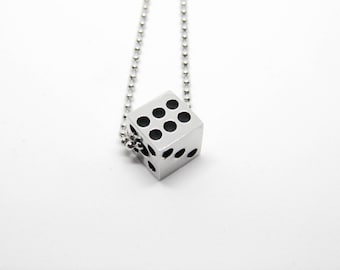 Casino Fortune game gambling dices NUT steel necklace