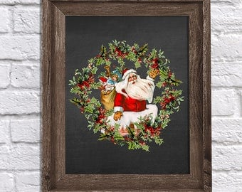 Christmas Decor - Vintage Santa Claus Holly Wreath Chalkboard Art Print - Christmas wall art - Vintage Christmas Art - Santa Claus Chalk #1