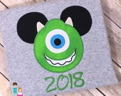Mike Mouse Head Shirt, Character Inspired Mouse Mike Green Monster Applique Shirt, Monsters Inc Inspired Matching Family Shirt, Mike