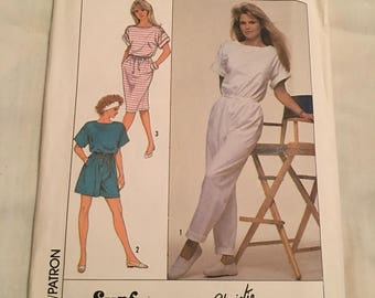Vintage 1980's Simplicity Christie Brinkley jumpsuit dress pattern women 10-12 new unused 9111