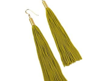 Tassel Earrings - Chartreuse & Gold