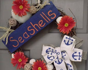 20 Inch Seashells Sign Grapevine Wreath Beach Summer Decor with Navy Orange White Colors and Anchor Bow, Free Shipping