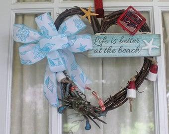 "10.5X 11"" Heart Shaped Seashell Wreath,Crab Wreath,Coastal Wreath,Life is Better at the Beach"