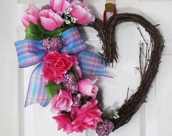 Grapevine Heart Wreath with Roses, Rose Wreath, Spring Wreath, Valentines Wreath, Love Wreath