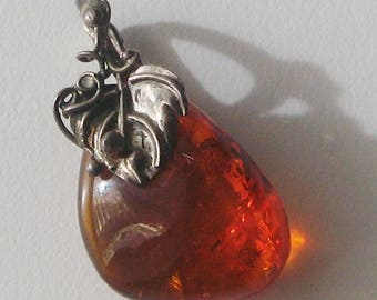Baltic amber cognac color and .875 silver vintage pendant-4cm L / 2.3cm W / 6.6grams - made in USSR in 1980's