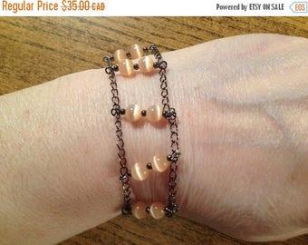 Peach Bracelet, Salmon bracelet, Rose bracelet, Brazalete, braccialetto, women gift, girl gift, double rank bracelet (BR793)
