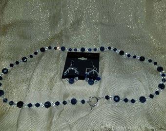 Dark Blue Swarovski Crystal Necklace & Earring Set