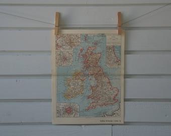 1938 Vintage Map of United Kingdom & Ireland