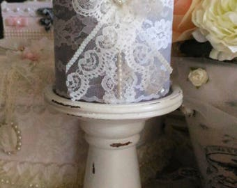 White weathered wood, and grey candle shabby chic candle holder