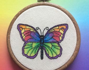 Butterfly embroidery wall art gift idea