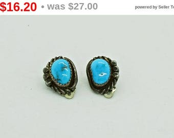 Vintage Earrings Silver and TurquoiseEarrings  Clip on Earrings Native American Earrings