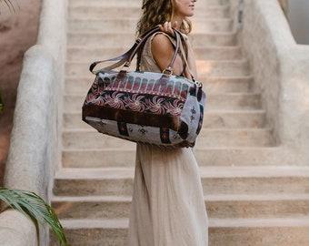 Weekender Bag Women Overnight Duffle Bag Large Bag Vintage Quilt Leather Bag Ethnic Boho Tribal Weekend Bag Gift For her