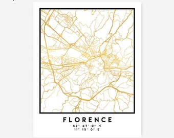 Florence Map Coordinates Print - Italy City Street Map Art Poster, Gold Florence Map Print, Florence Italy Coordinates Poster Map Art Print