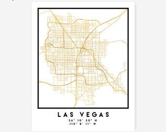 Las Vegas Map Coordinates Print - Nevada City Street Map Art Poster, Gold Las Vegas Map Print, Las Vegas United States Coordinates Poster