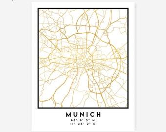 Munich Map Coordinates Print - Germany City Street Map Art Poster, Gold Munich Map Print, Munich Germany Coordinates German Poster Map Print