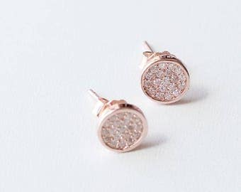 E1083 - New Sterling Silver Rose Gold Pave Circle Studs Earrings