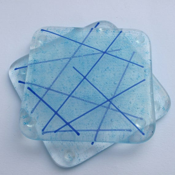 fused glass coaster blue glass coasters blue coasters glass. Black Bedroom Furniture Sets. Home Design Ideas