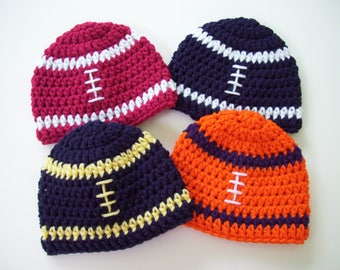 Football Hat, Baby Boy Hat, Football Beanie, Crochet Baby Hat, College Football Hat, Toddler Football Hat, Photo Prop, Baby Shower Gift
