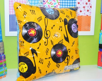 Cushion Cover, Music Note Cushion, Record Print Cushion Cover, Retro Cushion Cover, Vinyl Cover Cover, Soul Music Cushions, Music Man