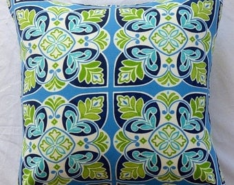 Sale - 20% off all items. 17 inch square pillow cushion cover in outdoor fabric.  Indigo, navy, green and cream looks great inside or outsid