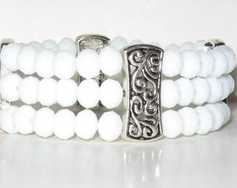 White Glass and Silvertone Bracelet
