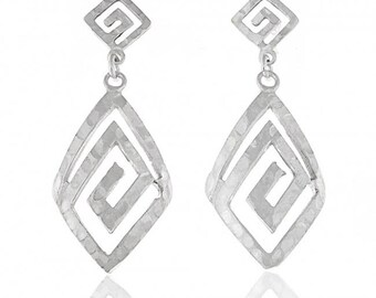 Greek Design Dangle Hammered Meander Earrings in Sterling Silver